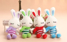 1Piece Random Color - 18CM Scarf Rabbit Stuffed Toy Doll , Key Ring Chain Toy , BAG Pendant Gift Plush Toys