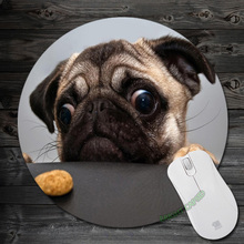 Custom Funny Animals Cute  Pug Wallpaper Art Print Mouse Pad Anti-Slip Round Mousepad ift Me Mats Mouse Mat for Optal