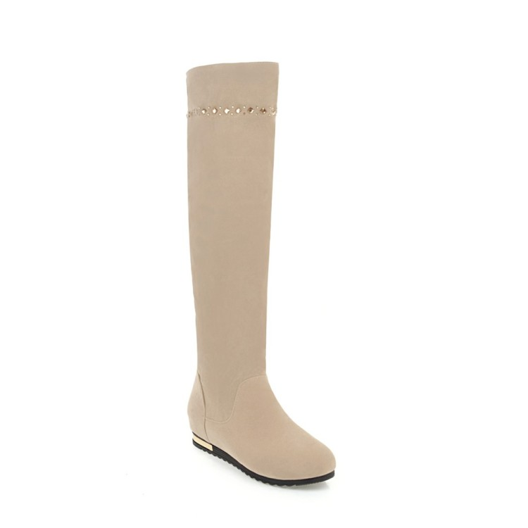 SALCXOI winter boots women thigh high boots over the knee boots flock height increasing beige ladies shoes free shipping &2792