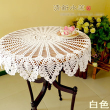 The manual crochet hook flower 100% cotton hollow out knit table cloth American country style table cloth