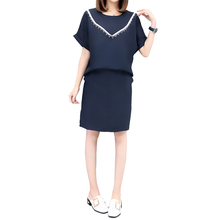 Plus Size New Women dress Loose Slim Fat Chubby Cotton And Linen Off Two Suits Dresses Navy 859
