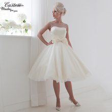 Summer Beach Puffy Robe de Marriage Bowtie Cap Sleeves Bridal Dress Polka Dots Short Wedding Dresses 2017