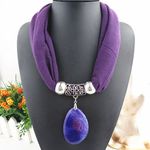 High Quality natural stone Pendants scarf& necklaces Jewelry pendant scarf 10 colors Free shipping