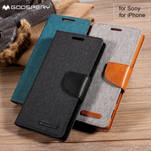 MERCURY GOOSPERY for Sony Xperia Z5 Dual Compact Premium XA X Cover Wallet Leather Case for iPhone X 6s 6 7 8 Plus 5 5s SE 4S 4(China)