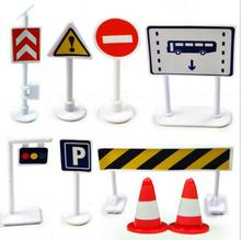 Traffic light Signs Model Toy 9pcs/lot DIY Mini Signpost Traffic Scene Educational Toys Cheap Car Toys Gift For Children(China)