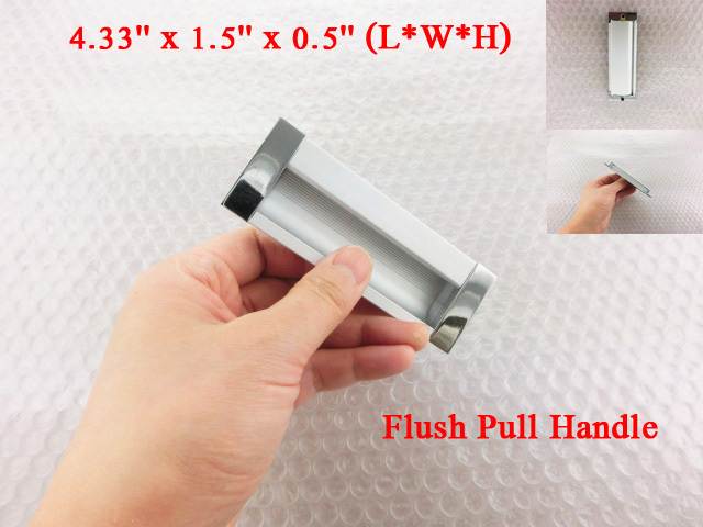 Sliding Door Silver Tone Rectangle 5.5 Long Flush Pull Handle<br><br>Aliexpress