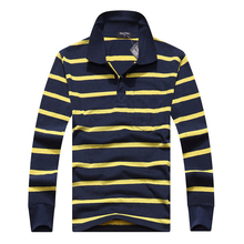 Men's shirt Long Sleeve knit Polo Shirt Casual Striped blouses Cotton Shirts Male spring Tops slim fit camisa masculina(China)