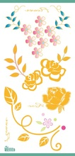 New Waterproof Fake flash tattoo Beautiful Flower Design Glitter Gold Foil Metallic temporary tattoo Stickers brand