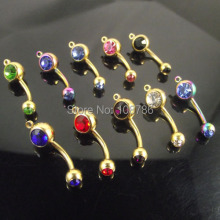50pcs/lot vertical hoop add your own charm Gold Navel ring Double Crystal CZ Belly Ring mixed Colors Body Jewelry