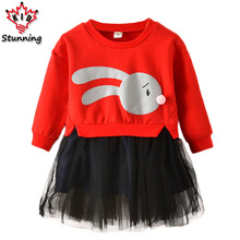 24M-6T Baby Girls Dress Patchwork Mesh Style Girls Dresses Long Sleeve Cotton Girls Costume Fashion Kids Dress for Girls(China)