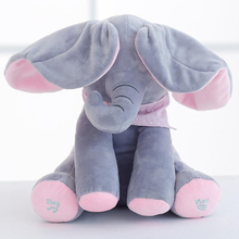 Peek A Boo Stuffed Animals & Plush Electric Elephant Doll Play Music Sing Move Ears Education Appease Baby Toy Birthday Gift