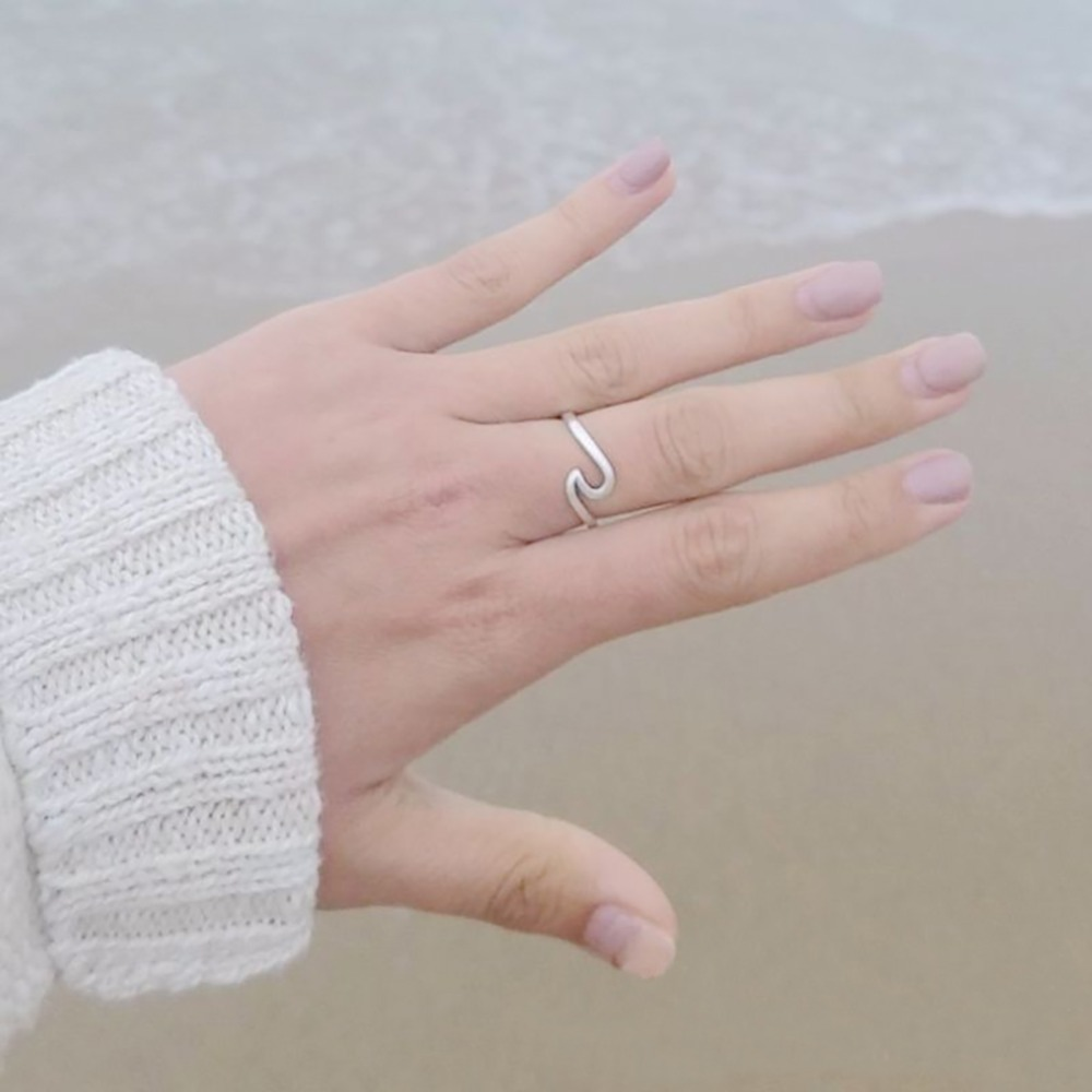 Women Jewelry Ring Simple Dainty Thin Wave Ring Beach Sea Surfer ...