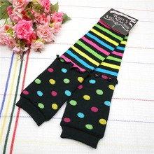 3Pairs Baby colorful Polka Dot Leg Warmers Infant Striped dot legwarmers baby Ruffle 2Layer Leggings(China)