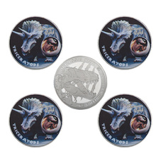 WR Triceratops Dinosaur Silver Challenge Coin Jurassic Collectibles Present Case Metal Coins Birthday Souvenir Gifts