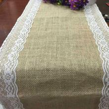 Factory direct jute linen table runner Lace sides chair brulee ribbon yarn craft Christmas Party Wedding Decoration