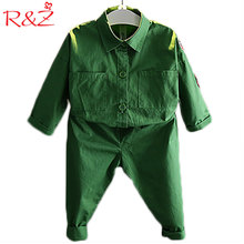 R&Z 2017 Children's Clothing Suit Long-sleeved Autumn Coat + Pants 2 Pieces Set Fashion Boy Girls Jacket Badge Cool Street Shoot(China)