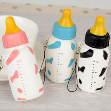 10cm Kawaii Cute Soft Squishy Milk Bottle Phone Strap Slow Rising Stretchy Squeeze Cellphone Straps Kids Gift Toy Random Color