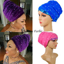 HQT13Free shipping African turban gele sequins and beaded headwrap one pieces per pack Multi-colored scraf women headtie turban.