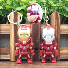 Action Super Hero Iron Man LED Keychain with Sound and Light PVC Key Ring Pendants Chaveiro Gift 6cm AK0046