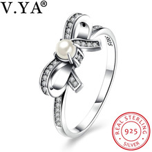 V.YA 100% 925 Sterling Silver Jewelry Women Silver Rings Luxury Brand Rings for Ladies Woman Bow Design Charming Accessory(China)