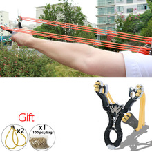 Hot Sale Portable Powerful Outdoor Self-defense Alloy Shot Ergonomic Grip Slingshot Catapult Powerful Hunting Camping(China)