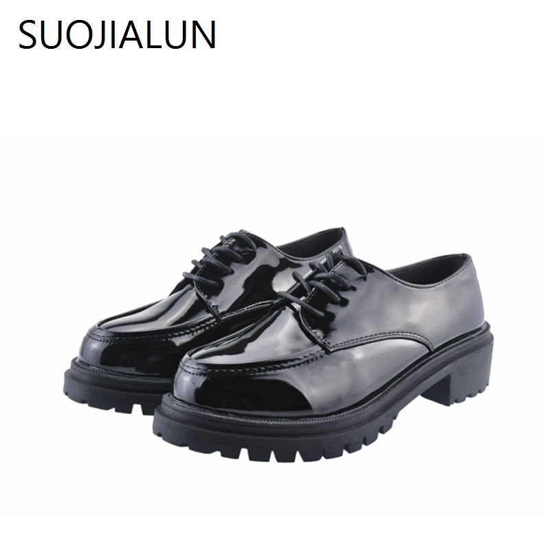 SUOJIALUN New Fashion Women Flats Shoes Breathable Flat Casual Shoes Round Toe Shoes Womens Vintage Oxford Shoes Retro Loafers <br>