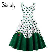 Buy Sisjuly women vintage dress pin polka dots patchwork 1950s retro dress rockabilly cute female sexy vintage 2017 new dresses for $21.84 in AliExpress store
