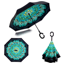 Ceiourich 3D Peacock Flower Umbrella Women Men Travel Fishing Hiking Shopping Camping Reverse Umbrellas Umbrella-001(China)