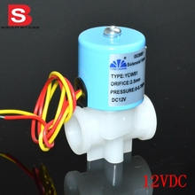 "12VDC Normally Closed 1/4"" NPT  female thread PP Plastic Electric Solar Inlet Water  air oil Solenoid  Valve"