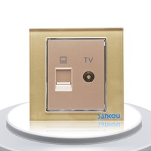 Cnskou Hot sale Gold Luxury Design Nodon TV and LAN Computer Wall Socket, Mirror Glass Television and Computer Internet Socket(China)