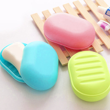 1pc Random Color Plastic Home Travel Soap Dishes Soap Holder Soap Box with Cover Bathroom Set Soap Dish(China)