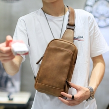 2017 NEW Bag Men Chest Pack Single Shoulder Strap Back Bag High Quality PU Leather Travel Men Crossbody Bags Vintage Chest Bag