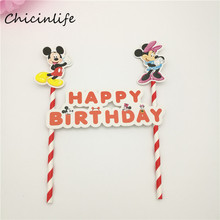 Chicinlife 1set Mickey Minnie Mouse Cake Topper For Happy Birthday Party Decoration Baby Shower Party Supplies Cake Decoration