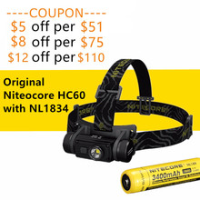 Original Nitecore HC60/HC60W Rechargable Lightweight headlight headlamp with NL1834 18650 3400mah battery high performance(China)