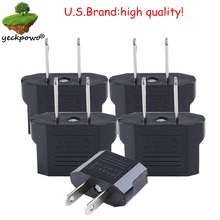 U.S. Brand high quality! 5 pcs EU to US Plug adaptor plug convertor Travel Adapter Power plug Converter Wall Plug