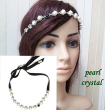 1pcs girl womens Brand design luxury crystal&pearl headband  leather lace-up head bands Elastic Hair Accessories