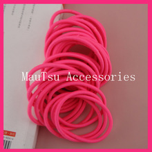 50PCS 4mm Neon pink Elastic Ponytail Holders hair bands with gluing connection,shiny pink Elastic Hair Ties,BARGAIN for BULK