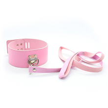 Buy Sex Neck Collar Leash BDSM Fetish Bondage Restraints Gear Adult Games S&M Slave PU Leather Sex Toy Product Couple Women