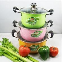 FREE SHIPPING 6pcs casseroles pots set pans COOKING POT colorful stainless steel cookware set 16-20cm(China)