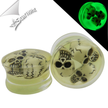 Starlight 2pcs/lot Transparent Acrylic Glow In The Dark Skull Ear Gauges Plugs And Tunnels Saddle Fit Plugs Stretching Expander