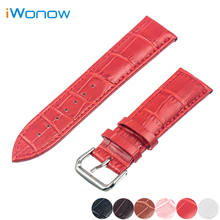 Genuine Leather Watch Band 20mm 22mm 24mm for Diesel Stainless Pin Buckle Strap Wrist Belt Bracelet Black Red +Spring Bar + Tool