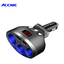 ACCNIC 3 Ways Car Cigarette Lighter Dual Prot Adapter Socket 5V 3.4A LED Quick Charge For iPhone Samsung Car-charger Portable(China)