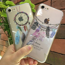 Kerzzil Bling Diamond Wind chimes feather Soft Silicone Case For iPhone 7 6 6S Plus Rhinestone Phone Cover Coque For iPhone 6 6s