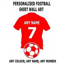 Custom made personalize wall art football shirt with any name and number decal sticker-you choose name and color