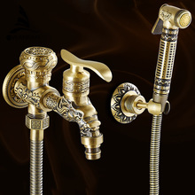 Antique Brass Bidet Faucets Wall Mounted Bathroom Shower Toilet Washing Machine Faucet Cold Water With Hand Shower Bracket WF556