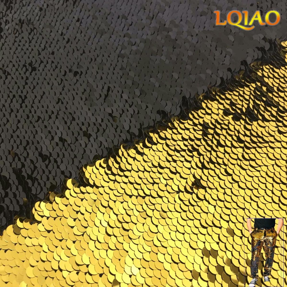 Gold Black Reversible Sequin Fabric-001