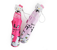 Cartoon Hello Kitty Folding Sun Protection Umbrella Rain Women 1 Pcs Only(China)