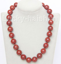 "JQHS natural 19"" 16mm round red sponge coral beads necklace j10510"