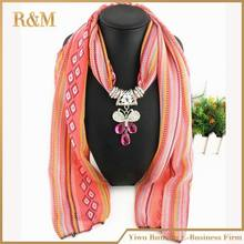 Hot Sale Fashion Bohemian Cheap Colorful Rhinestone butterfly Animal Pendant Long Print Chiffon Women Scarves