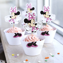 Wholesale  Minnie Mouse cupcake wrappers toppers cake picks birthday party baby shower decorations supplies favors for kids N184